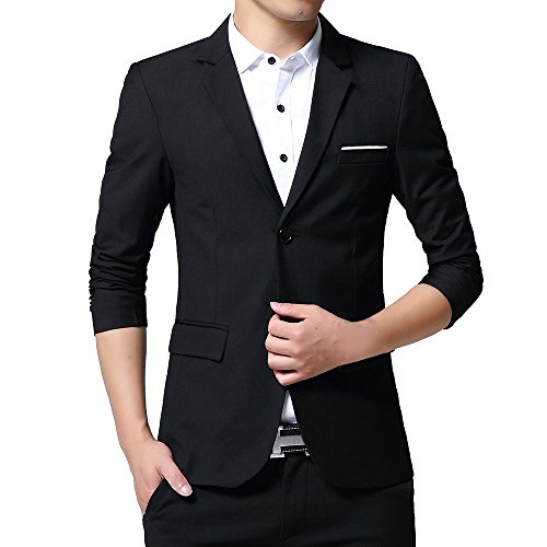 Solid Two Button Suit Jacket (WEEN CHARM Mens Slim Fit Casual Two Button Blazer Jacket Suit Coat)