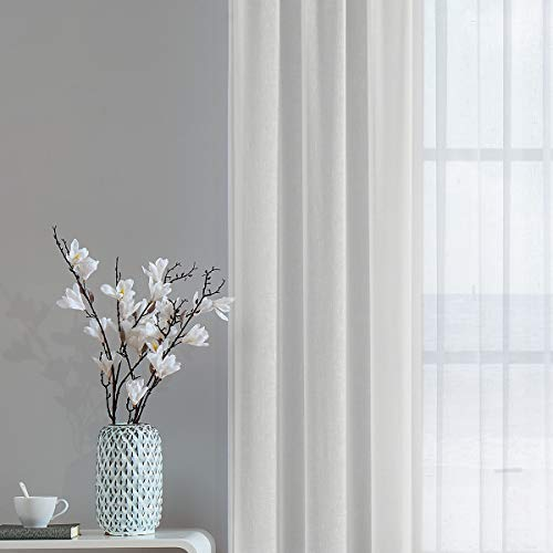 "Sheer Curtains for Bedroom 84"" Long Cotton Like Soft Linen Textured Look Window Curtain Drapes Rod Pocket Curtain Panels 2 Pack, Sand"