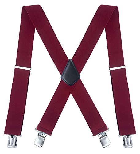 Fasker Mens Suspenders X-Back 2 Wide Adjustable Solid Straight Clip Suspenders