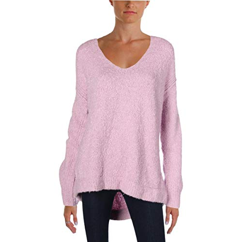 - Free People Womens Boucle Knit Pullover V-Neck Sweater Purple S
