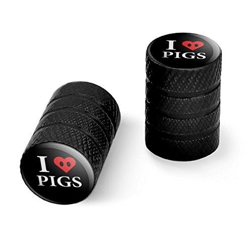 オートバイ自転車バイクタイヤリムホイールアルミバルブステムキャップ - ブラック私は豚の心臓の鼻を愛する