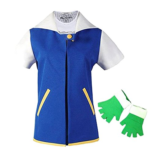 Quesera Women's Pokemon Ash Costume Adult Halloween Anime Cosplay Costume Outfit, Blue, (Ash Ketchum Costume Shirt)