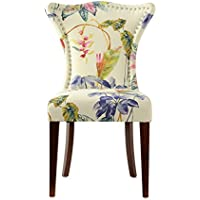 Jennifer Taylor 2453-804 Paradise Wooden Legs Accent Chair, Large, Floral/Off-White