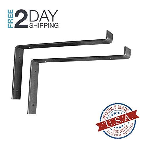 2 Pack - 11.25Lx6H Lip Shelf Bracket, Iron Shelf Brackets, Metal Shelf Bracket, Industrial Shelf Bracket, Modern Shelf Bracket, Shelving
