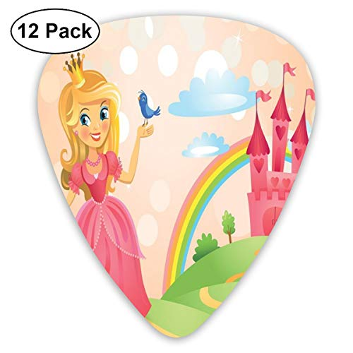 Guitar Picks 12-Pack,Young Beauty With Crown And A Bird In Her Palm Standing On A Road To Her Castle
