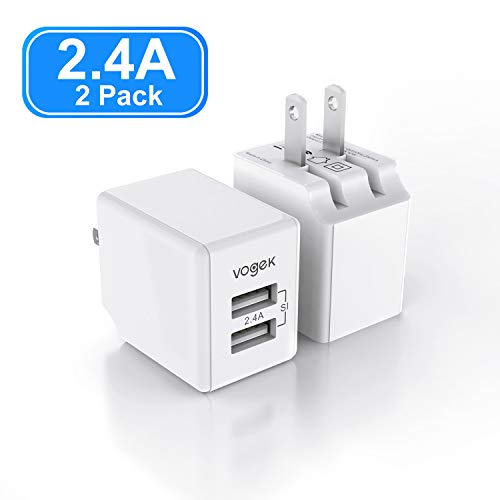 USB Wall Charger, Vogek Ultra Compact Dual Port 12W Foldable Plug Wall Charger Adapter Compatible with iPhone Xs/XS Max/XR/X/8/8 Plus/7 Plus, iPad, Samsung Galaxy Note 5/ Note 4, HTC, Moto - 2Pack