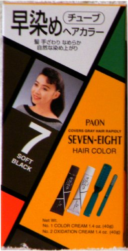 Paon Seven-Eight Permanent Hair Color Kit 7 Soft Black