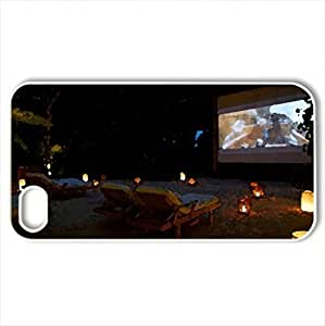 lintao diy Beach Cinema - Case Cover for iPhone 4 and 4s (Beaches Series, Watercolor style, White)