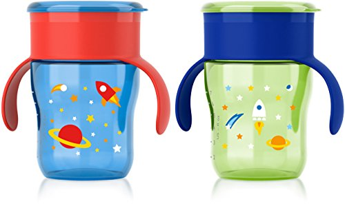 Philips Avent My Natural Drinking Cup 9oz, 2pk, Blue/Green, SCF782/55 (Straw Sippy Cup Leak Proof)