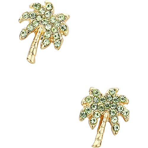 Liavy's Tropical Palm Tree Fashionable Earrings - Stud - Sparkling Crystal - Green (Gold Plated) (Palm Tropical Tree Earrings)