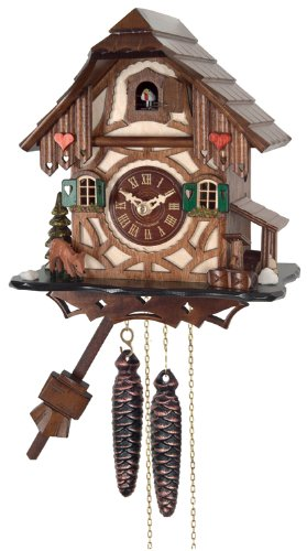 River City Clocks One Day Cuckoo Clock Cottage with Deer, Tree and Water ()