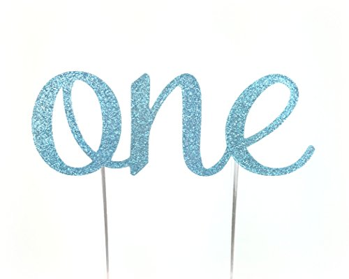 CMS Design Studio Handmade 1st First Birthday Cake Topper Decoration - One - Made in USA with Double Sided Glitter Stock (Blue)
