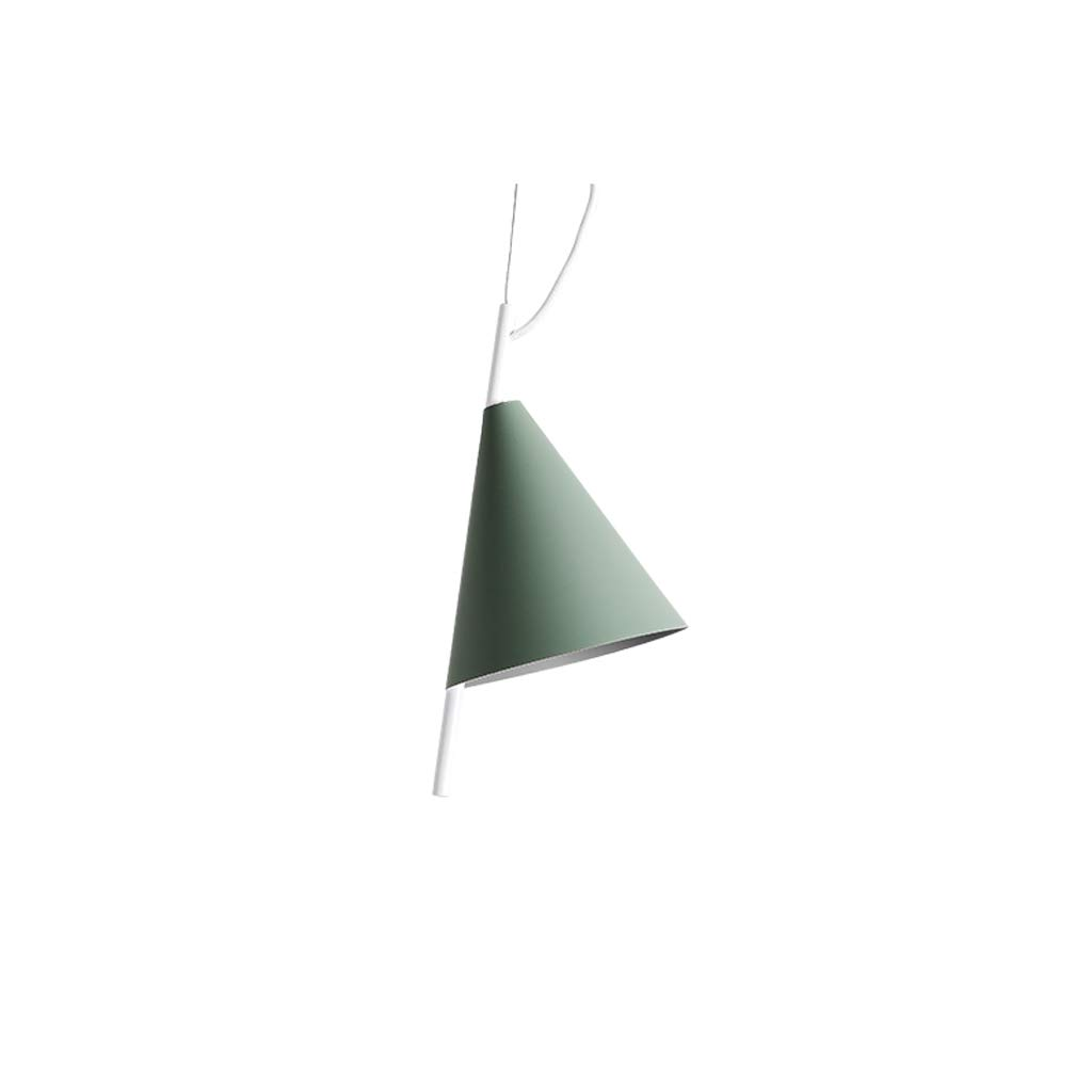 Nordic Style Color Single-Head Wrought Iron Lamps, Bedroom Bedside Lamps, Restaurant Lights, Home Wrought Iron Chandeliers (Color : Green)