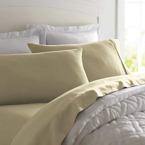 Deluxe Tradition Graceful Linen Sateen Weaved Olympic Queen Sized Cotton Sheets Set; Quality 300 Thread Count Fabric with Classic 4 inch Piped Hemming