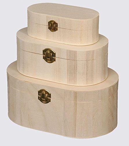 Cajas, estuches, ovales, con joyero de decoupage Juego de 3 ...