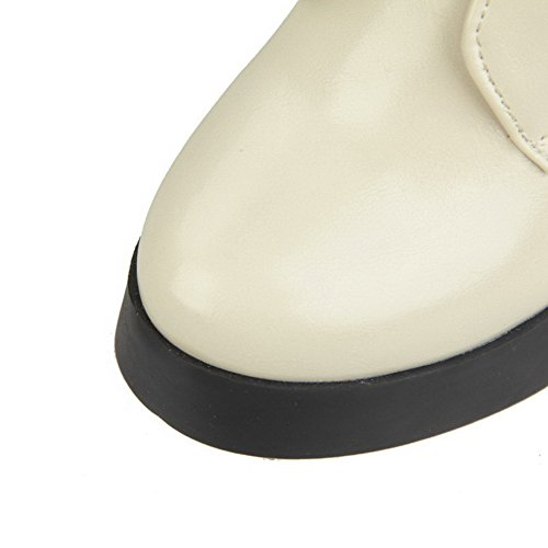 Womens Heels Solid High Beige Toe Blend AmoonyFashion Closed Materials Round Boots d8nfqxf41w
