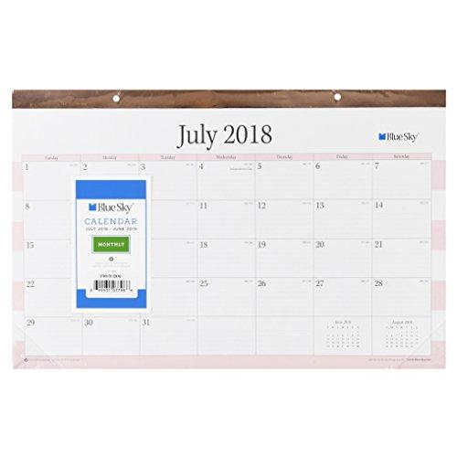 "Blue Sky 17"" x 11"" Desk Pad Calendar, July 2018-June 2019 (Beautique Gold Rose)"
