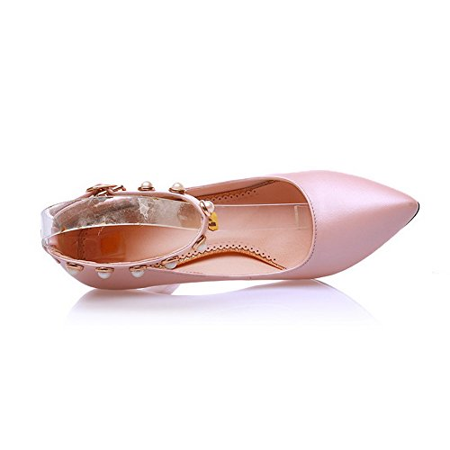 Metal WeenFashion with Shoes Kitten Bead PU Pointed Ornament 41 Women's Pumps and Heels Toe Pink rTr8zfq