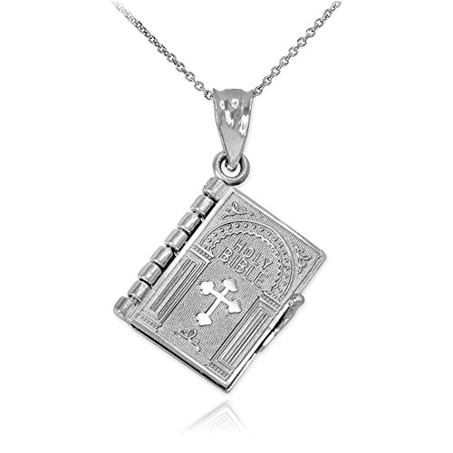 (Polished 10k White Gold 3D Holy Bible Book w/Lord's Prayer Pendant Necklace, 16