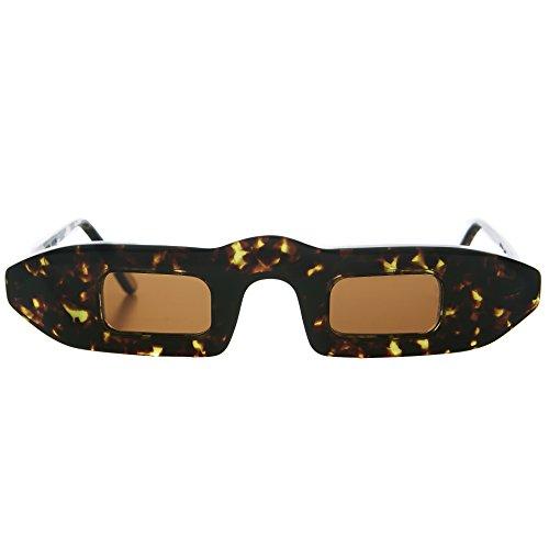 Narrow Small Square Slit Lens Futuristic Black Sunglasses with Green Lens - - Sunglasses Beatnik