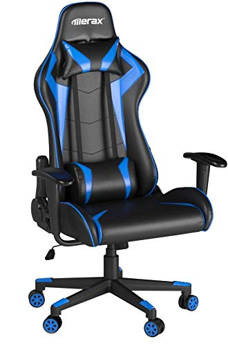 Merax High-back Gaming Chair Ergonomic Design Office Chair Racing Style Computer Chair (blue and black) Merax