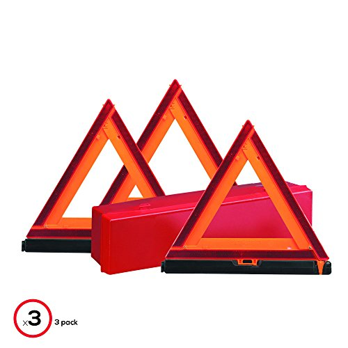 Deflecto Early Warning Road Safety Triangle Kit, Reflective, 3-Pack (73-0711-00)