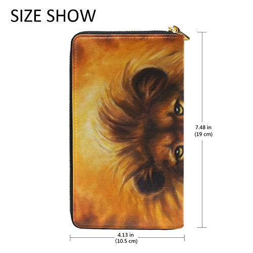 Around TIZORAX Clutch Golden Zip Oil Portrait Handbags With Mane And Painting Lion Purses Wallet Womens Organizer qw68trnw