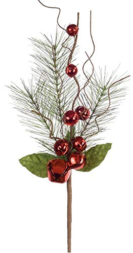 Melrose Pack of 12 Decorative Red and Green Pine with Jingle Bells Sprays ()