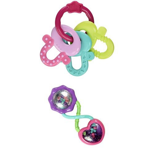 Bright Starts License to Drool Teether, Pretty in Pink &  Bright Starts Rattle and Shake Barbell Rattle, Pretty in Pink