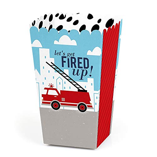 Fired Up Fire Truck - Firefighter Firetruck Baby Shower or Birthday Party Favor Popcorn Treat Boxes - Set of 12
