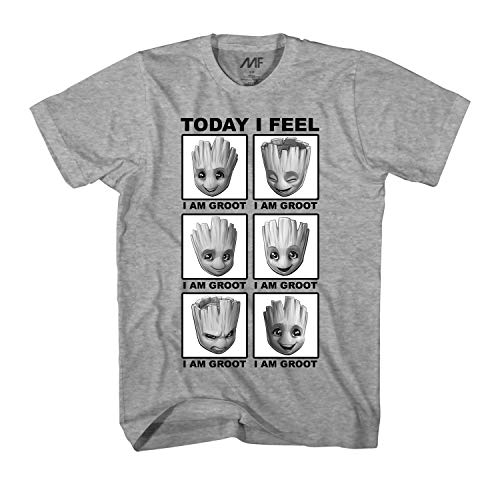 Marvel Little Groot Today I Feel I Am Groot Guardians of The Galaxy Men's Adult Graphic Tee T-Shirt (Heather Grey,Large)