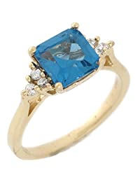 14k Yellow Gold Synthetic Blue Zircon White CZ Pretty Ladies Ring