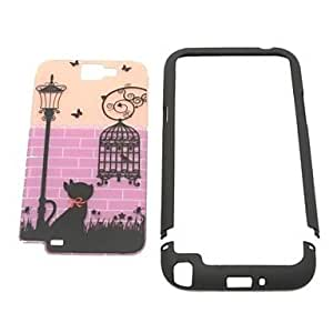Cat and Bird in Case Plastic Case for Samsung N7100