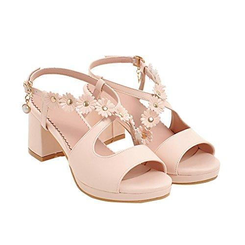 AIYOUMEI Damen Chunky Heel Knöchelriemchen Sandalen mit Blumen und Schnalle Blockabsatz Sommer Schuhe Rosa
