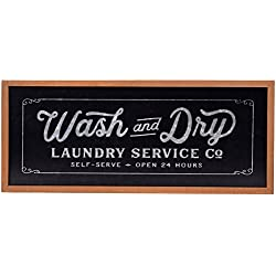 NIKKY HOME Metal Wash and Dry Wall Plaque Sign for Laundry Room, 23.94 x 1.02 x 10.04 Inches, Black
