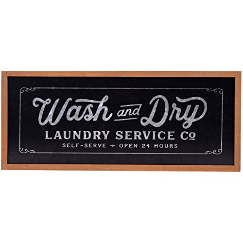 (NIKKY HOME Metal Wash and Dry Wall Plaque Sign for for Laundry Room, 23.94 x 1.02 x 10.04 Inches, Black)
