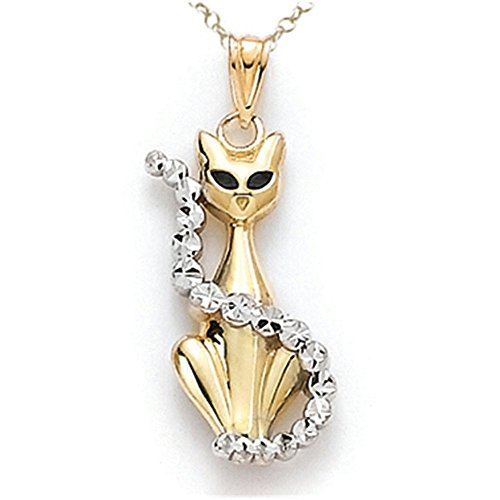 (Finejewelers 14 kt Two Tone Gold Enamel Cat Pendant Necklace Chain Included)