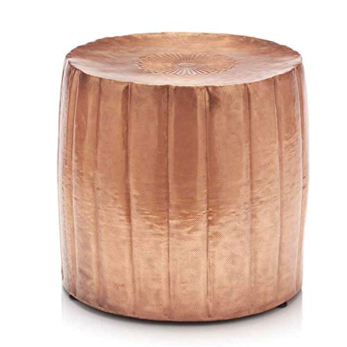 Vivaterra Copper Finished Round Metal Drum Accent Table Stool – Recycled Hammered Aluminum – Decorative Accent Furniture – 16 H x 16 Diam. – Short