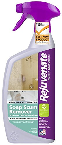 Rinse Free Soap - Rejuvenate Scrub Free Soap Scum Remover Non-Toxic Non-Abrasive Cleaning Formula - Spray and Rinse for Streak Free Finish on Glass, Ceramic Tile, Chrome, Plastic and More – 24 Ounce