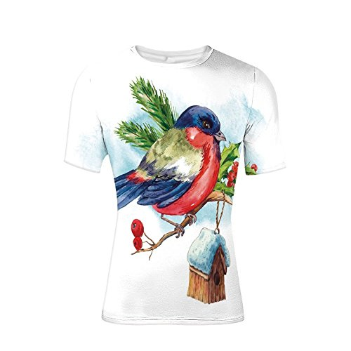 (T-Shirt Short Sleeves,Composition with Cute Bullfinch Holly Pine Cone,Mens Cool 3D Print)