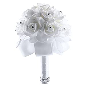 Kicode Crystal Roses Bridal Bouquet Flowers Bridesmaid Wedding Artificial Wedding, Party and Church Ivory 7 inch 37