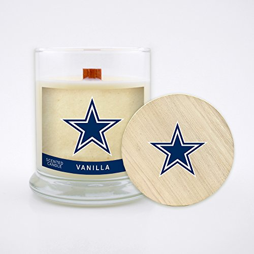 Dallas Cowboys Candle - Worthy Promo (WORV3) NFL Dallas Cowboys Vanilla Scented Soy Wax Candle, Wood Wick and Lid, 8 oz