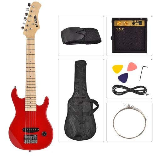 LAGRIMA Child Electric Guitar-30inch Full Size Guitar Amp for Complete Beginner Starters Kit with Tuner Strap Strings Picks and Case Accessories Package Red