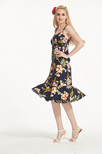 con Pink Ruffle in Luau In floreale Navy with Hawaii Navy Made Abito in dentellare Floral Hawaiian Elegante Donna 4FqAPRwx