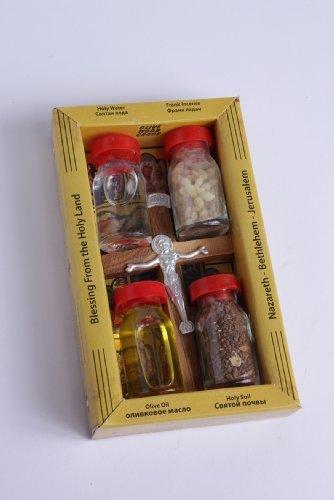 New Set Holy Land Set 5 In1 Olive Wood Cross Set with 4 Bottles - Oil, Jordan Water,Holy Land Essences & Holy Earth