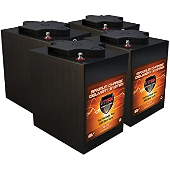 Qty 4 VMAX V6-225: 6 2kWh 24V AGM Solar Battery Bank for Home, RV, or  Industrial (4) 6V 225Ah AGM Deep Cycle Batteries 6 Volt Maintenance Free