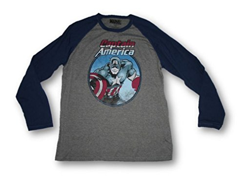 Marvel Captain America Graphic Mens L S Baseball Jersey T Shirt  Large  Gray Blue