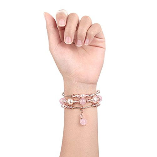 GBSELL Fashion Women Beaded Bracelet Strap Band For Fitbit Versa Small (Pink) by ®GBSELL (Image #2)