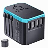 Universal Travel Adapter Ease2U International Power Adapter with 5USB Charger,Type-C,8A Worldwide AC Outlet Plugs for Dual Voltage Hair Dryer culer straightener European UK US AU Asia 200+(Blue)