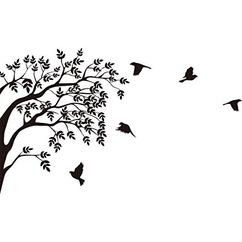 On Sale Christmas Ornament Tree Bird Wall Stickers for Living Room Kids Room - DIY Removable Wall Decals Peel & Stick